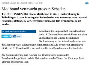 Zeitungsartikel Tagblatt Mottbrand Triboltingen
